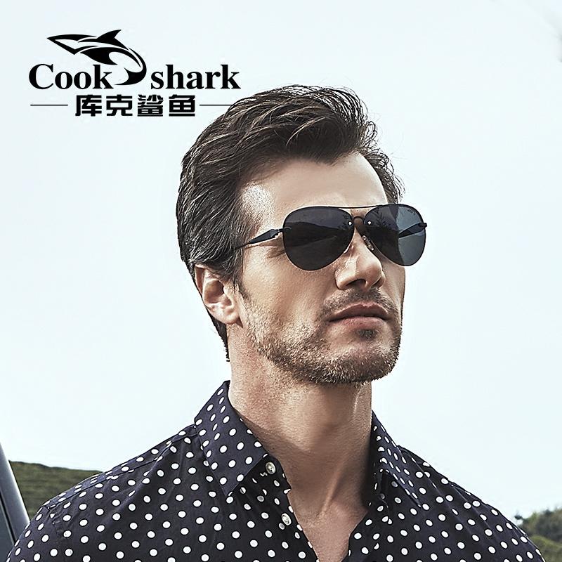库克鲨鱼太阳镜男女司机镜偏光墨镜开车舒适蛤蟆镜眼睛 cookshark