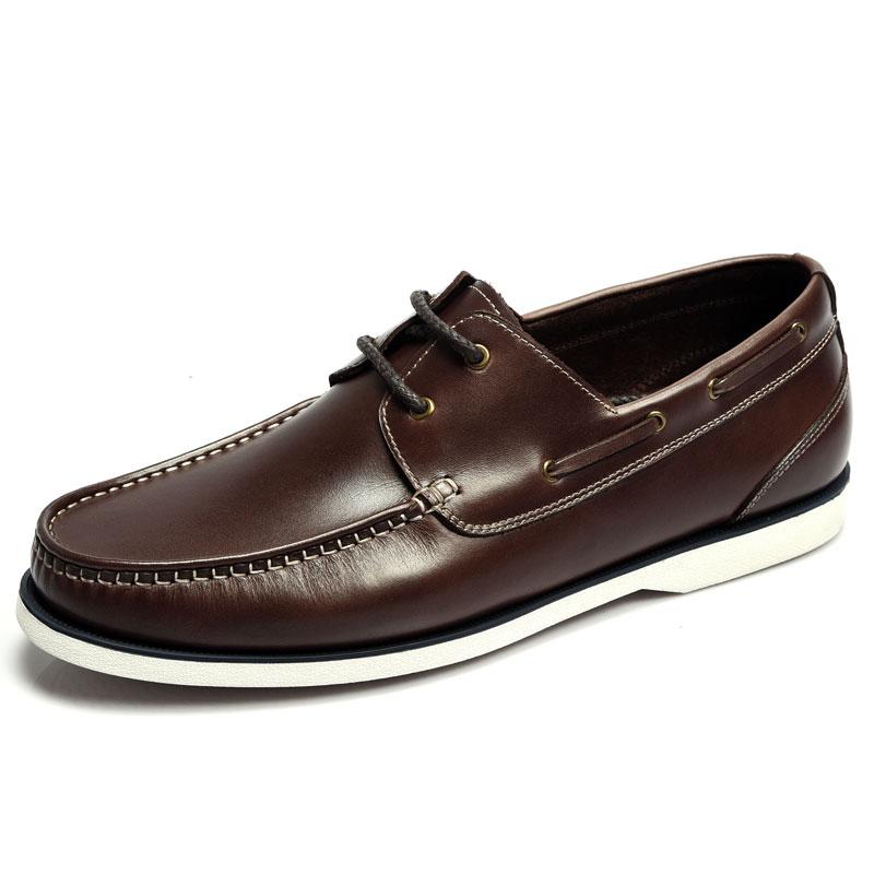 新款低幫男鞋透氣帆船鞋休閒駕車鞋時尚舒適繫帶四季男鞋