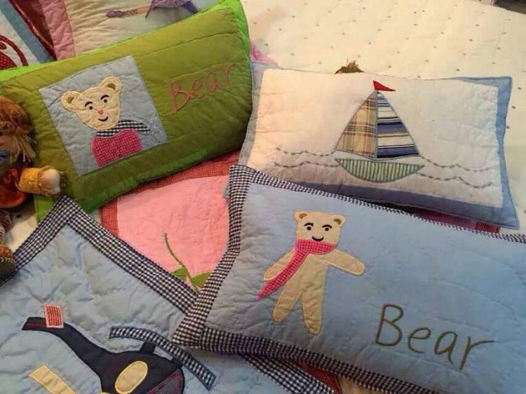 純棉手工絎縫 卡通貼布繡男女童枕套 加厚兒童嬰幼兒枕套