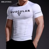 Men fitness clothes breathable wicking compression clothing professional training workout clothes stretch tight-fitting short-sleeved running