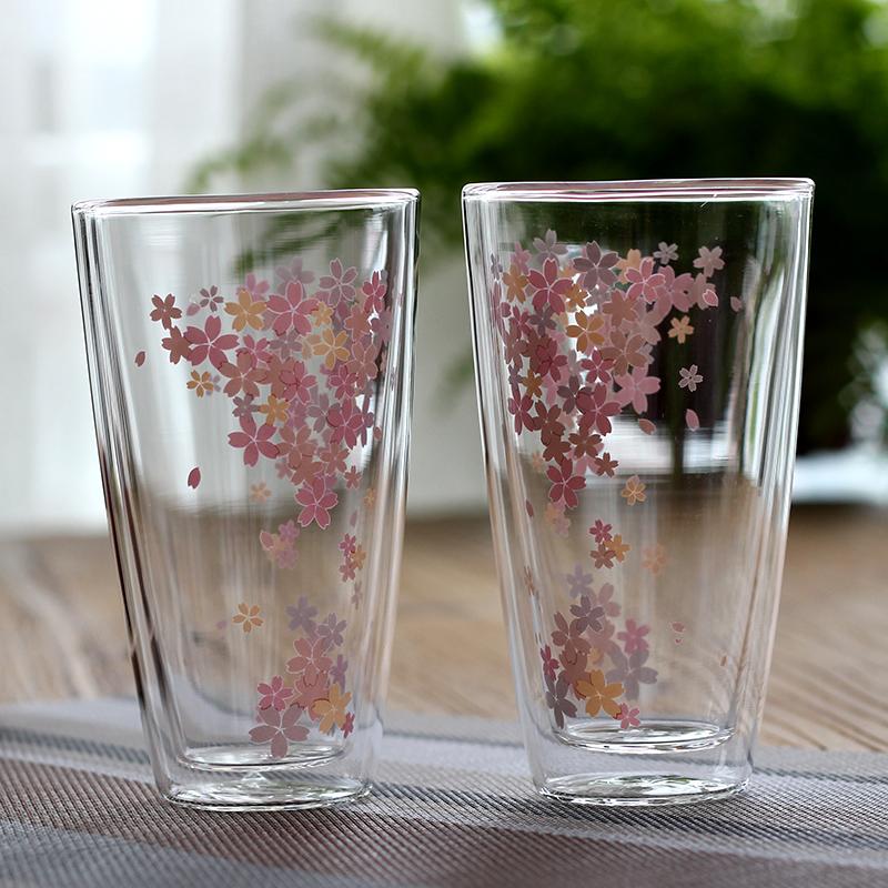 悠樂時光櫻花雙層玻璃杯奶茶飲料杯 創意牛奶杯隔熱透明水杯