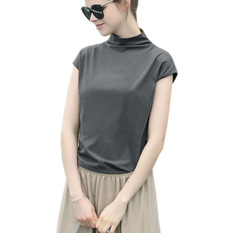 2019新款打底衫欧美夏装半高领短袖修身显瘦宽松白色女士t恤上衣