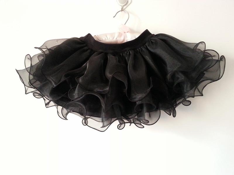 兒童新款半身裙黑色v白色三層荷葉波浪裙紗裙蓬蓬裙公主裙短裙女