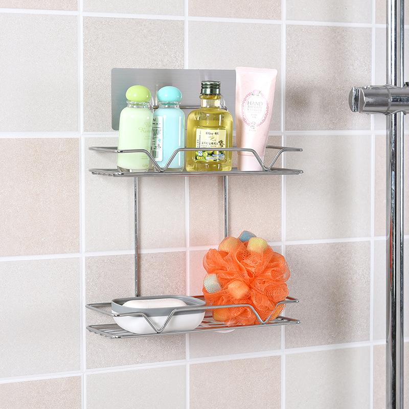 魔力無痕貼浴室置物架壁掛免打孔收納架廚房化妝間收納籃