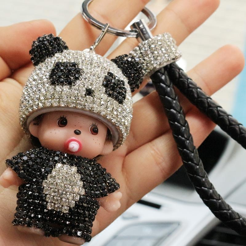 创意蒙奇奇钥匙扣挂件汽车钥匙扣镶钻水晶韩国可爱女包包挂件新款