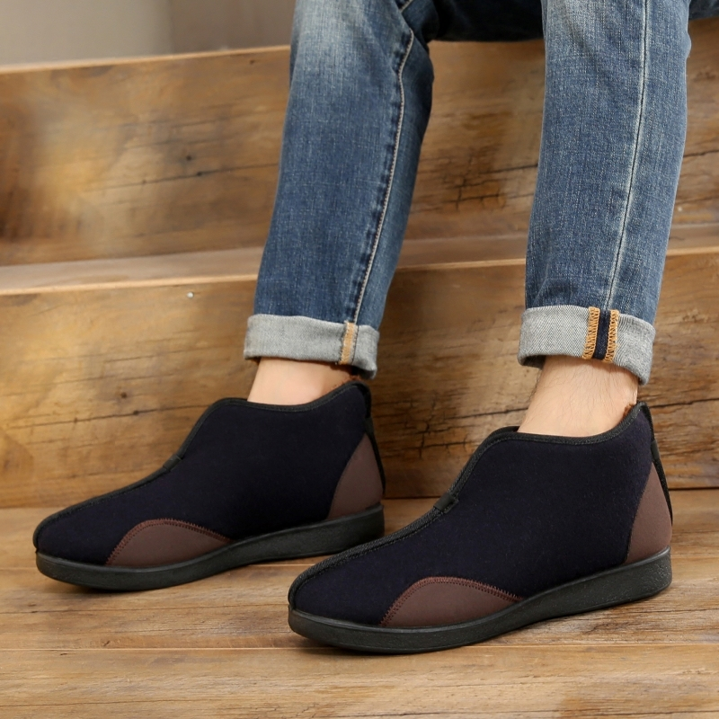 老北京布鞋男 冬季加绒保暖高帮棉鞋父亲鞋 防滑老人鞋复古短靴子