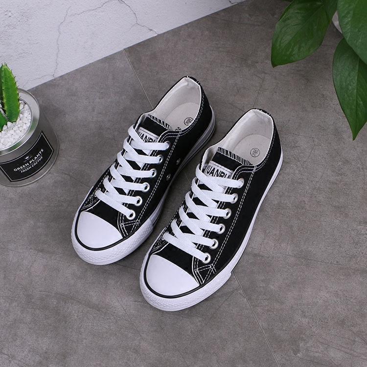 經典原宿ulzzang黑色低幫帆布鞋女學生韓版百搭平底情侶休閒球鞋
