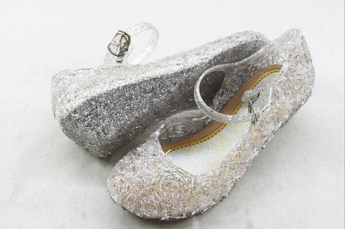 2017夏季女童洞洞凉鞋frozen冰雪奇缘蓝色水晶鞋子儿童公主鞋