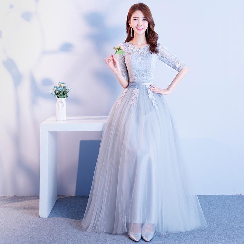 伴娘服夏季2019新款韩版宴会小晚灰色显瘦姐妹团派对毕业礼服裙女
