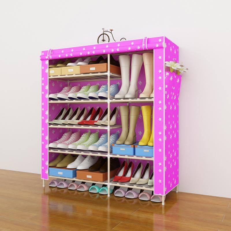 收纳组装宿舍家用经济型 防尘布鞋柜 实木简易多层鞋架多功能