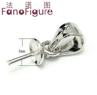 法诺图 XDP012 925银瓜子扣吊珠盘珍珠吊坠扣 珍珠首饰DIY配件