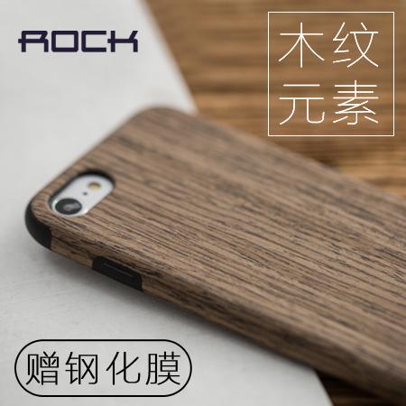 Rock iphone7手機殼蘋果8plus防摔XR矽膠6s實木紋xs max創意潮牌iPhonexsmax網紅創意7p全包防摔木頭木質
