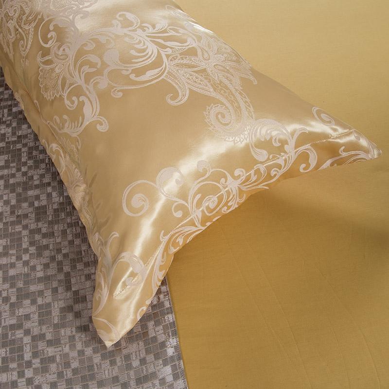 双人长枕套贡缎提花1.2/1.5/1.8m米情侣婚庆枕头套加长枕芯套