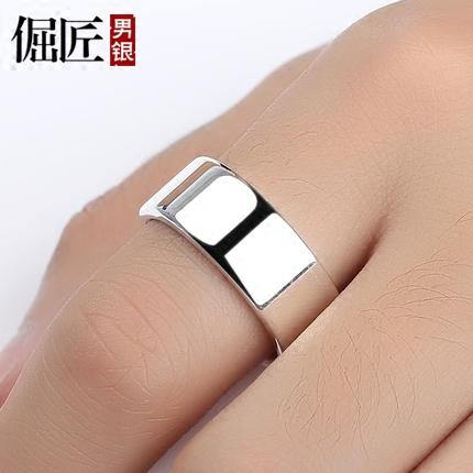 情侣对戒单身尾戒足银 宽大码 女士 纯银男士戒指 99 可刻字 8MM