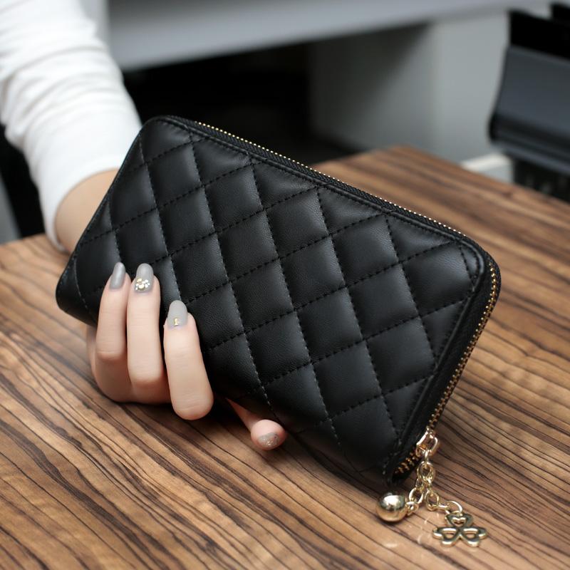 2019新款韓版菱格長款女士錢包拉鏈大容量手拿包多卡位錢夾手機包