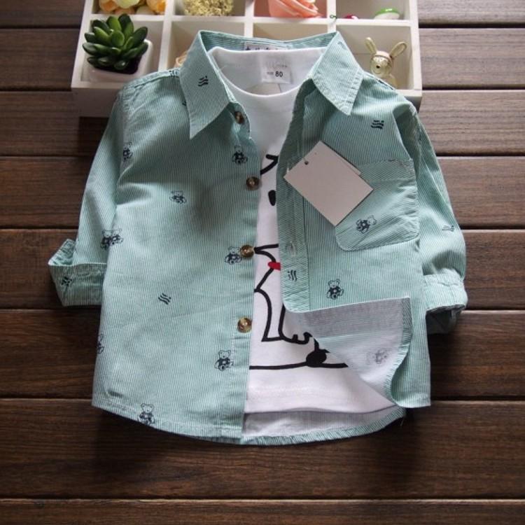 嬰兒童襯衫長袖純棉薄款上衣小童女寶寶春秋季夏裝外套男童襯衣寸