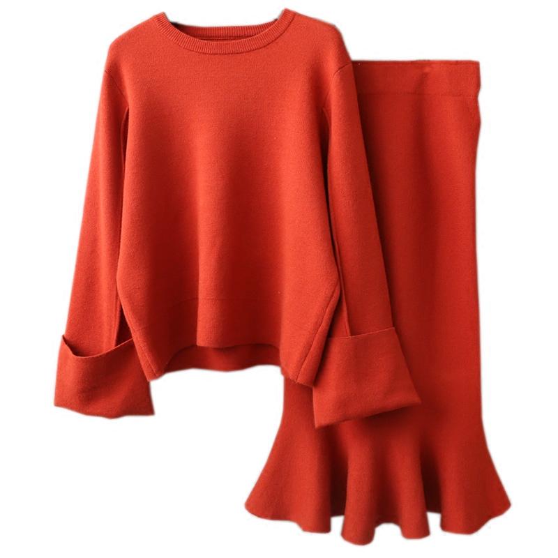 毛衣两件套女装秋装2019新款时尚百搭纯色显瘦荷叶鱼尾裙针织套装