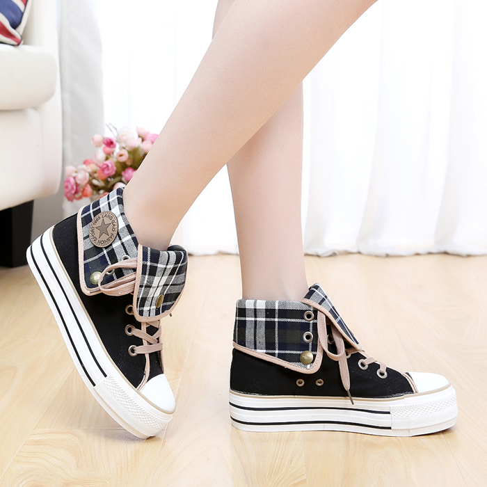 春秋款女士厚底高帮帆布鞋松糕学生板鞋内增高休闲加绒布鞋女棉鞋