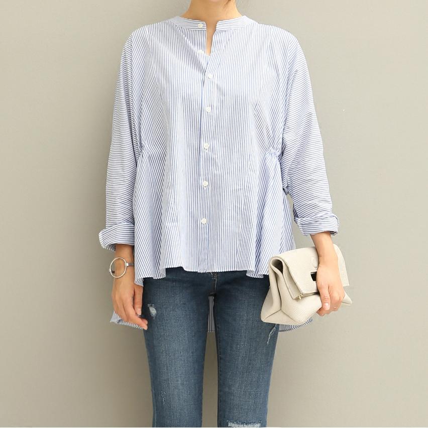 条纹衬衫女时尚韩版宽松蝙蝠袖前短后长开叉纯棉长袖立领百搭衬衣