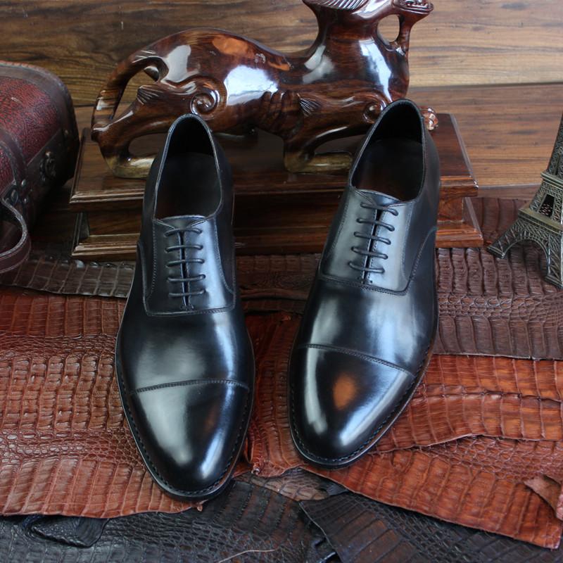 固特異手工皮鞋經典三接頭真皮男鞋商務低幫男鞋定製鞋牛皮底定做
