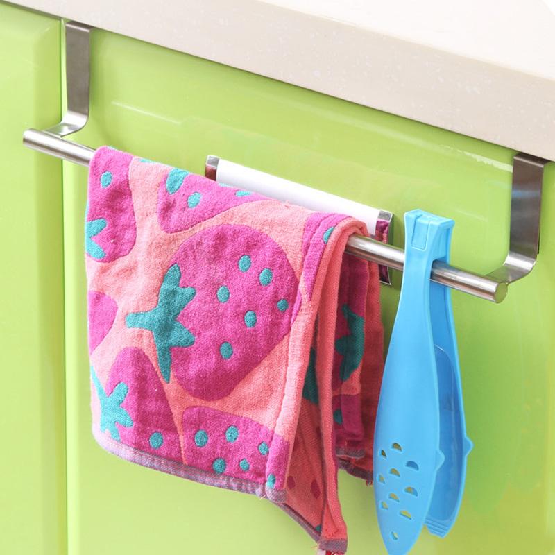 不鏽鋼門後免釘毛巾架 櫥櫃門背式抹布掛架無痕掛鉤 廚房掛架掛杆
