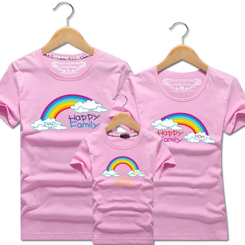 新款短袖  恤一家三口四口母女子幼儿园班服装旅游 T 亲子装夏装 2018