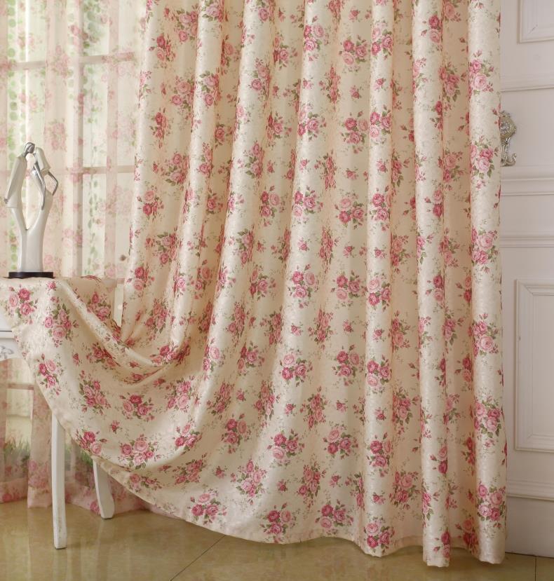 紫柯簡約現代臥室客廳碎花田園成品窗簾窗紗飄窗落地窗簾布料定製