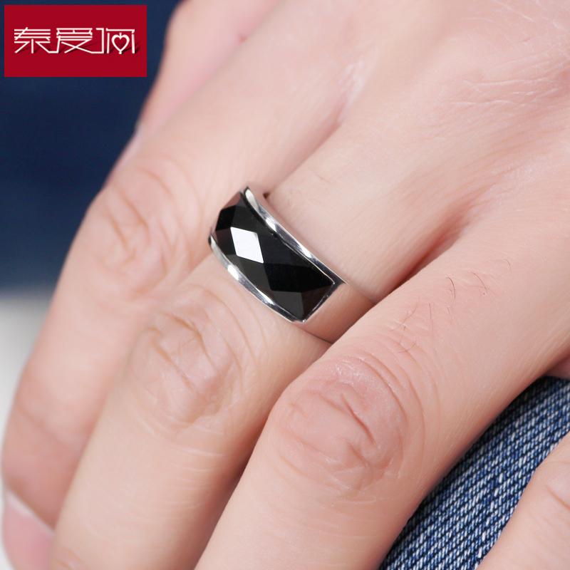 泰爱你黑玛瑙戒指男宽钛钢指环潮人个姓霸气配饰简约免费刻字