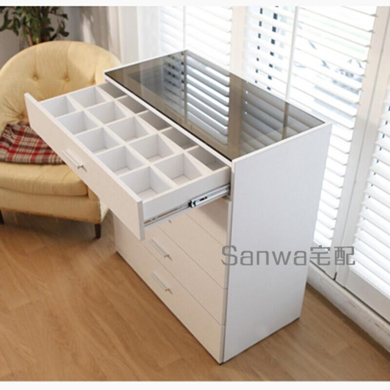現代簡約玻璃桌面五斗櫃日式北歐收納邊櫃板式儲物櫃抽屜正品定製