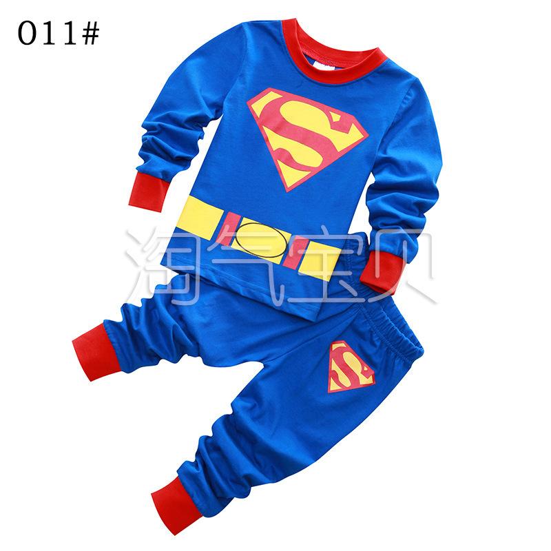 睡衣兒童家居服休閒款長袖套裝男童睡衣純棉Kimi同款超人特價上新