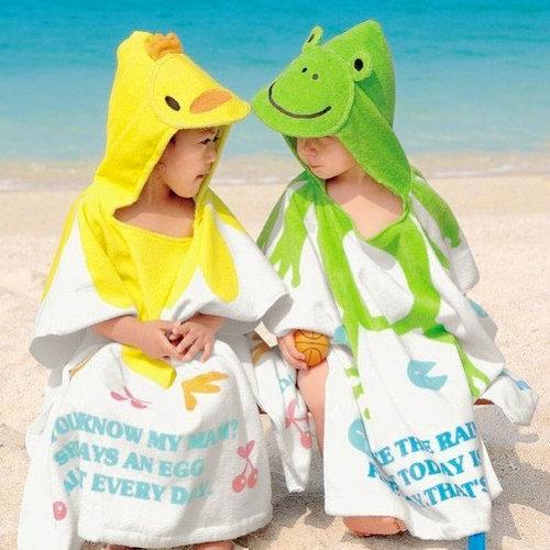包郵 特價卡通兒童浴巾 純棉 百變沙灘小孩浴袍浴衣寶寶斗篷浴披