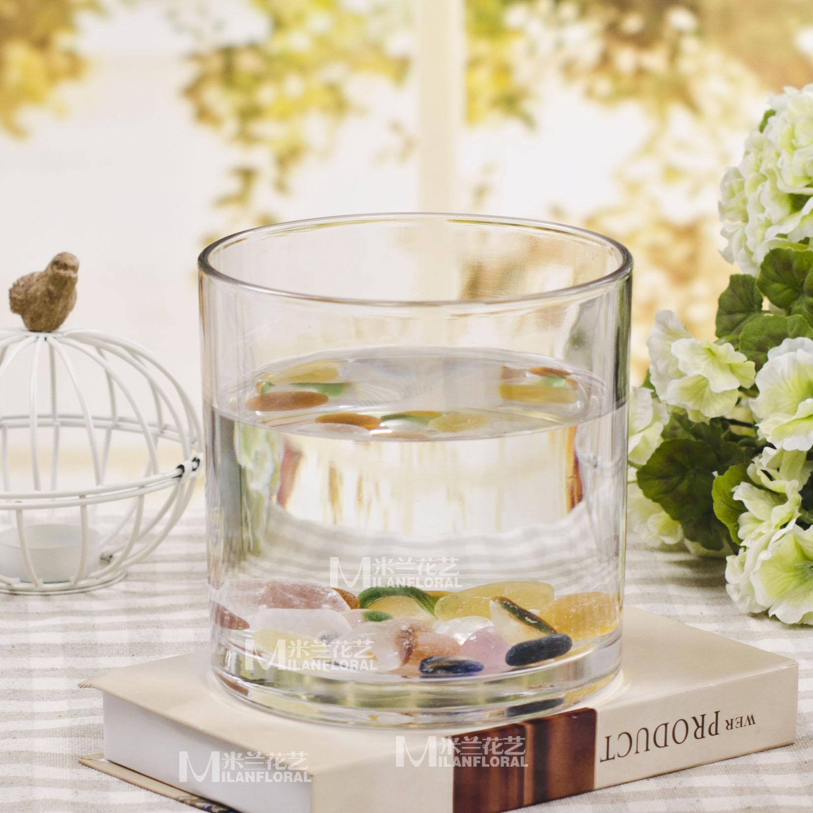 時尚現代 圓桶簡約玻璃花瓶 小魚缸 水晶玻璃花器 水培花瓶