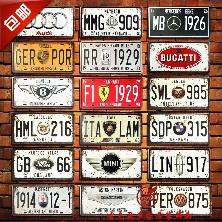 包郵歐美名車標誌復古美國車牌鐵皮畫酒吧餐廳咖啡館做舊壁飾裝飾