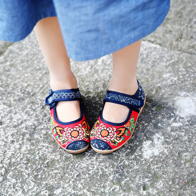 儿童布鞋2019春季新款亲子手工老北京童鞋女童绣花鞋女汉服鞋子