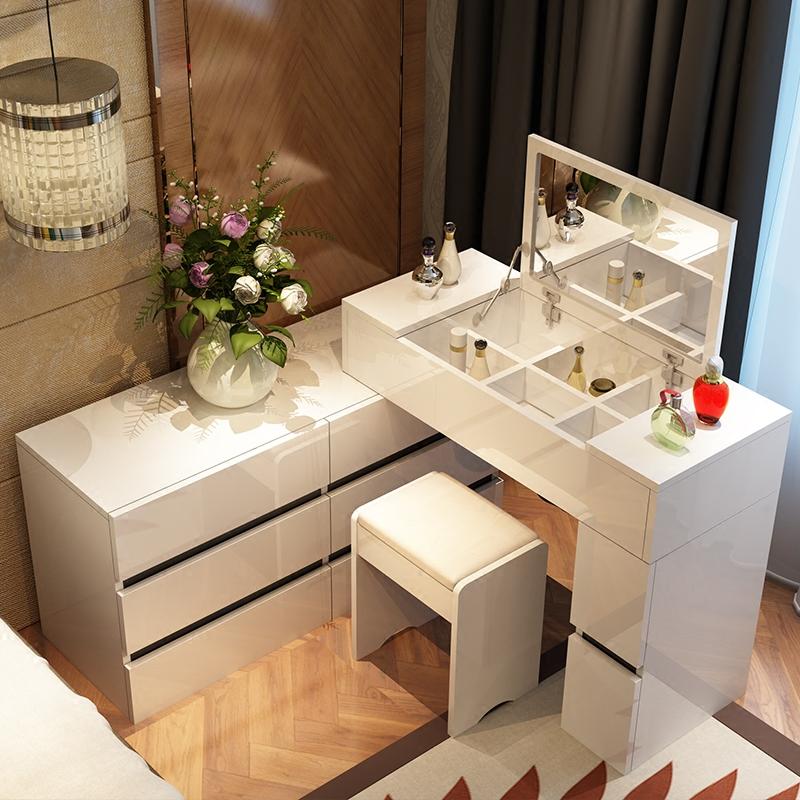 現代簡約梳妝臺烤漆翻蓋伸縮卧室多功能小戶型電視櫃時尚化妝桌a