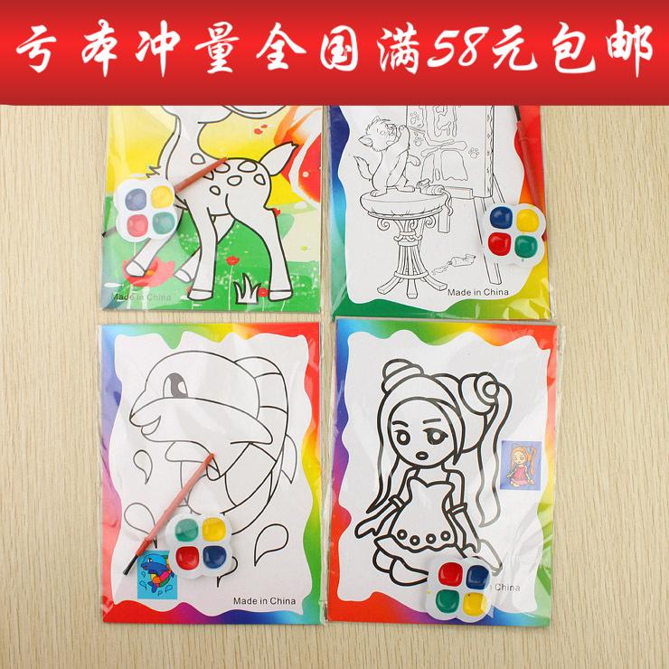 [淘寶網] 卡通圖案水彩畫兒童禮品禮物手工diy繪畫套裝 空白填色卡通油畫