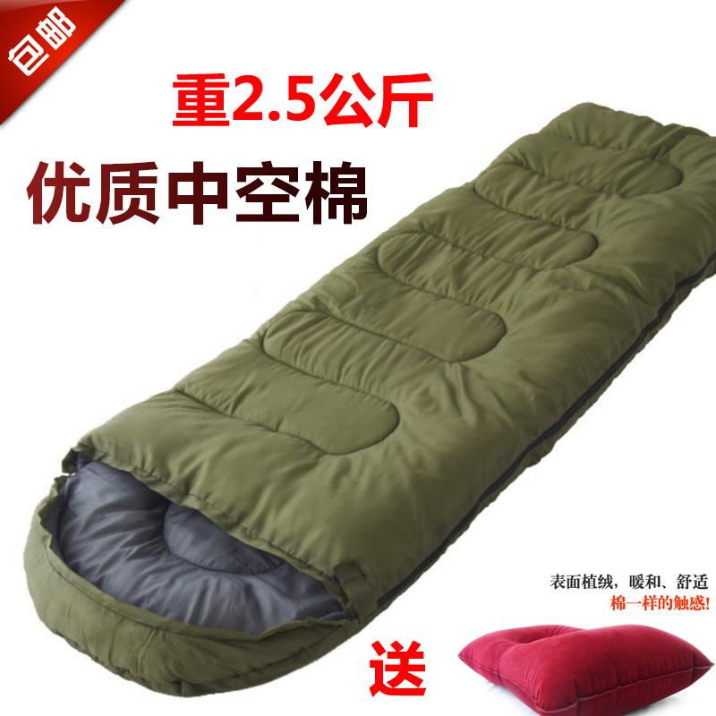 包郵 戶外加厚保暖睡袋 登山露營帳篷 成人午休睡袋 秋冬季睡袋