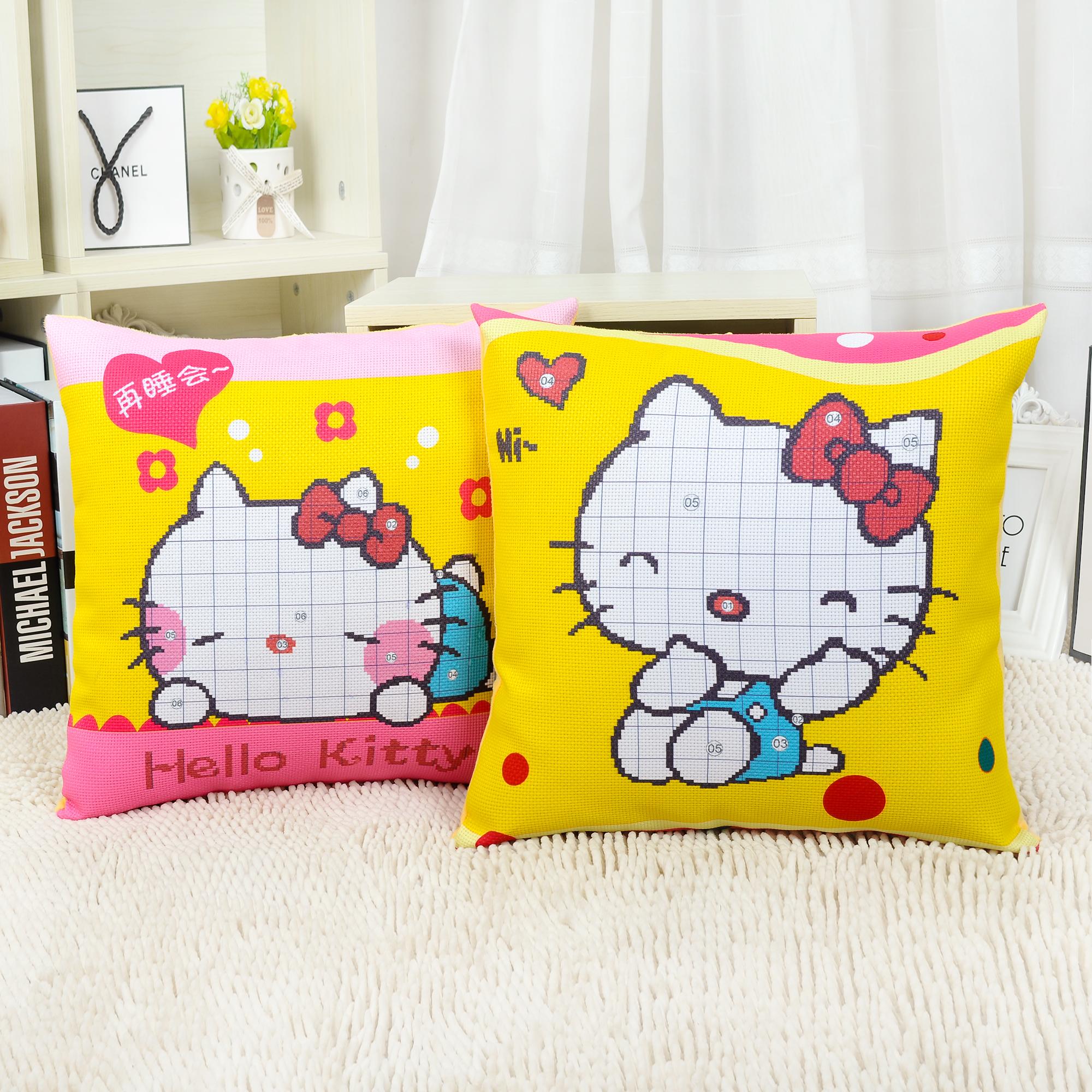 新款5D印花十字繡抱枕KT貓hello Kitty可愛貓咪凱蒂貓情侶靠枕