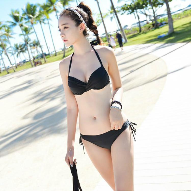 韓版新款性感大小胸鋼託聚攏溫泉泳衣比基尼罩衫長款沙灘外套泳裝