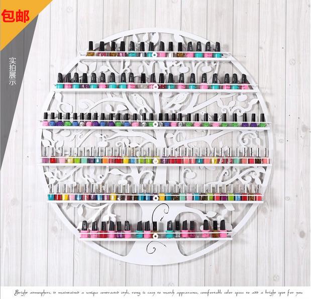 指甲油架子展示架柜美甲店圆形指甲油瓶子架铁艺美甲产品壁挂包邮