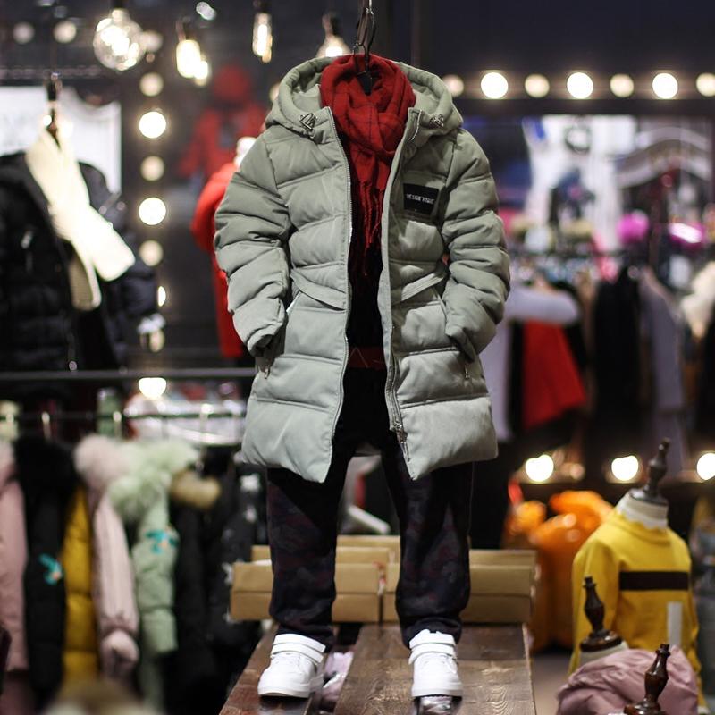 中童连帽长款棉服超值冬装新品童装男童韩版棉衣男孩儿童棉袄潮