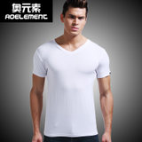 Modal summer short-sleeved round neck tight-fitting men's V-neck t-shirt solid color vest compassionate Slim sports T-shirt bottoming