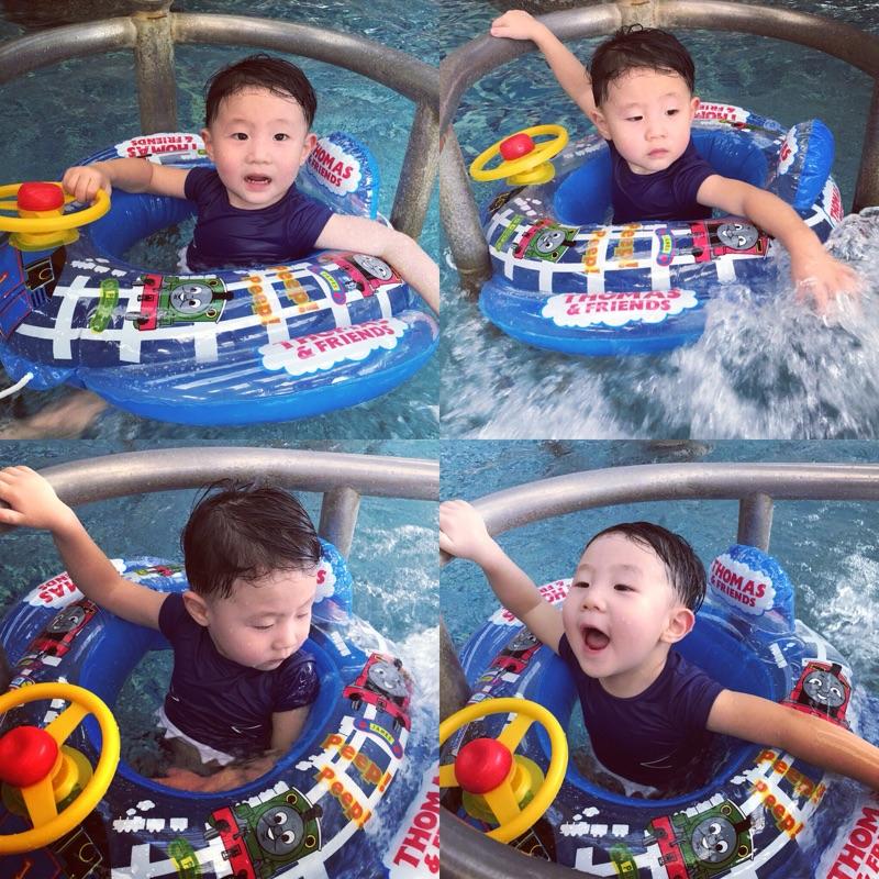 新品托馬斯坐圈 加厚兒童游泳圈寶寶座圈136歲喇叭方向盤帶拖繩