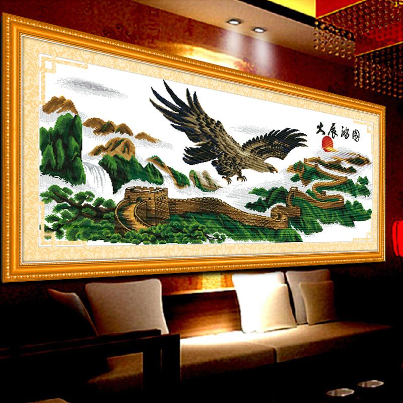 大展宏图十字绣新款客厅大幅老鹰十字绣大展宏图长城版迎客松系列