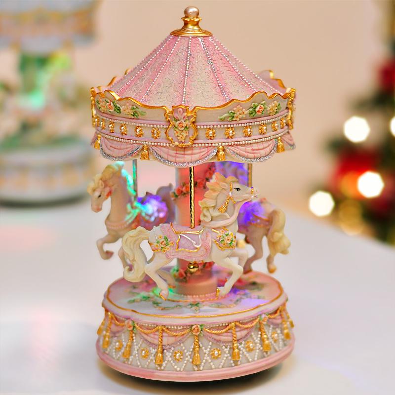 儿童节发光带灯旋转木马音乐盒八音盒创意礼品生日礼物送女友闺蜜