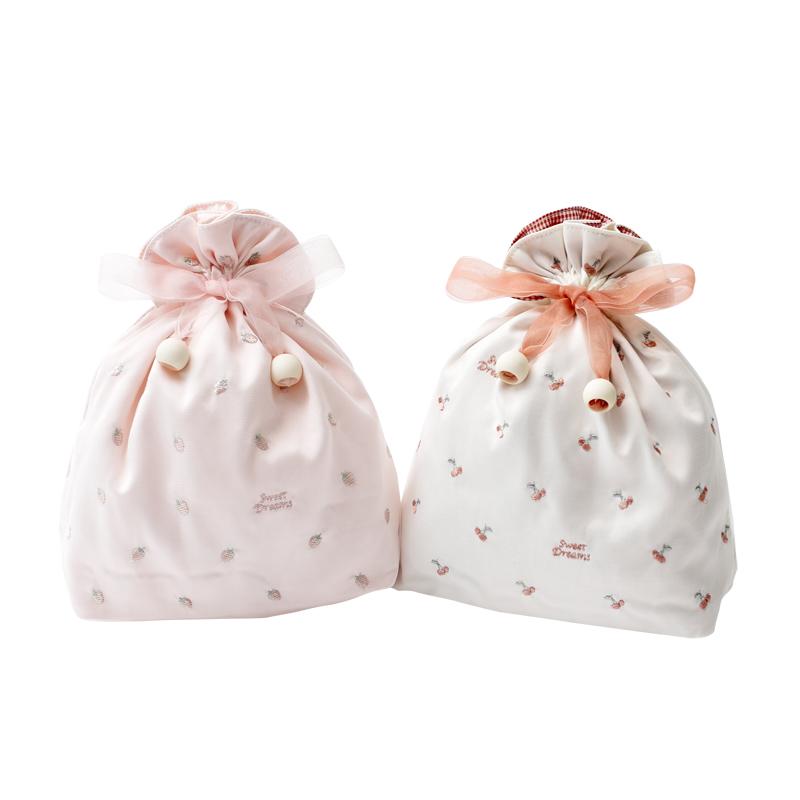 冰激凌甜美可愛 網紗水果刺繡 櫻桃草莓迷你旅行內衣抽繩收納袋