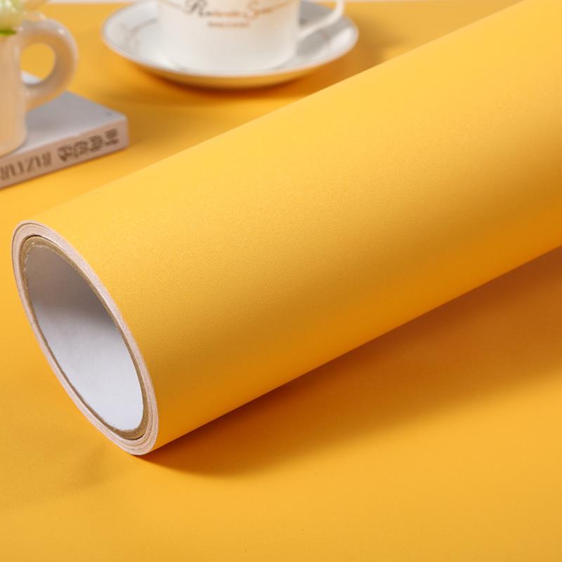 加厚純色自粘牆紙素色黃色亞光波音軟片傢俱翻新貼磨砂防水貼紙