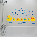 Toilet glass stickers bathroom tile stickers waterproof bedroom children cartoon stickers removable wall stickers little ducks