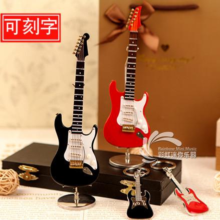 可刻字粉色木質電吉他模型樂器擺件汽車掛件送朋友生日聖誕節禮物