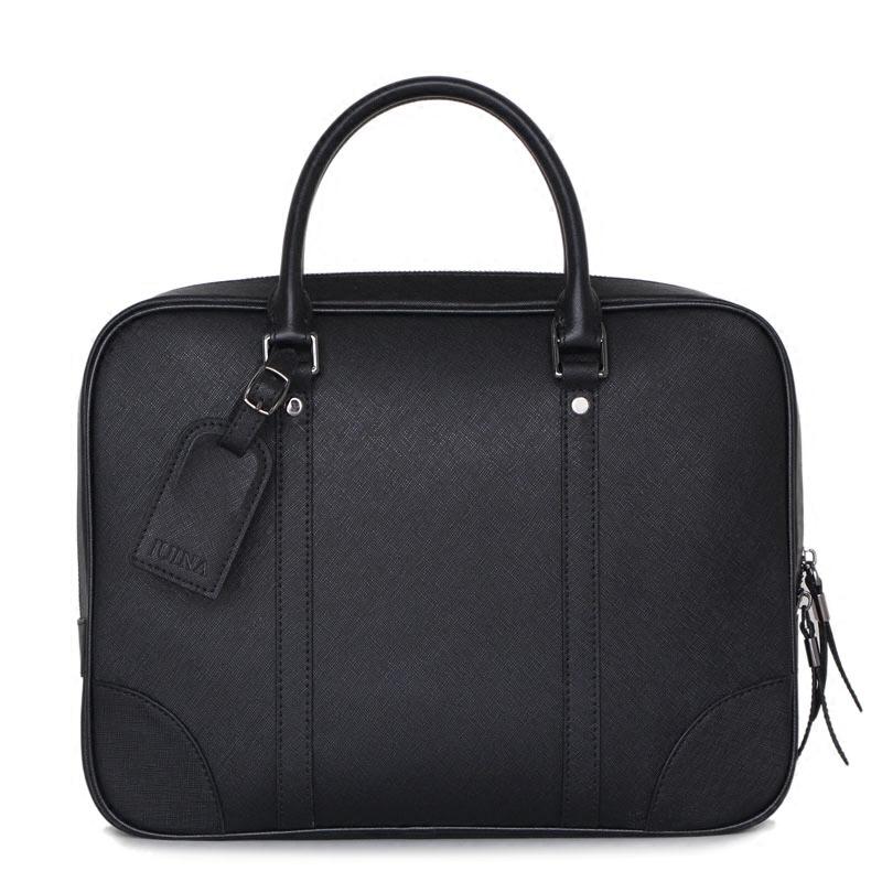 男士手提包横款公文包牛皮电脑包大容量斜挎包简约男包真皮商务包